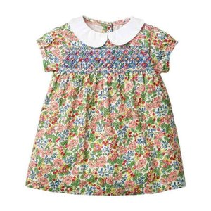 Spain Kids Clothes Toddler Smocked Dresses for Girls Baby Peter Pan Collar Smocking Frocks Children Hand Made Embroidery Dress 210331