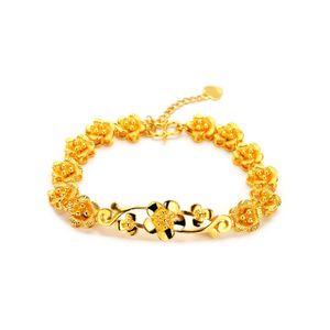 Women's flower 24k gold plate Charm bracelets JSGB010 fashion women gift yellow gold plated bracelet