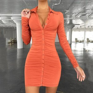 Casual Dresses 2021 Summer Women's Vintage Bodycon Single-breasted Simply Ruched Slim Dress
