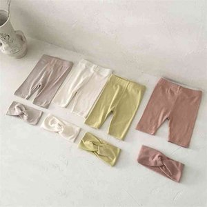 Summer baby cotton thin solid color base shorts with cute hairband infant unisex casual 4 colors 210708