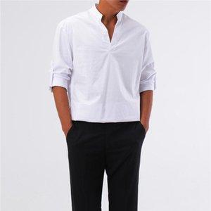 한국어 셔츠 클래식 망 의류 2021 남자 패션 드레스 레드 블루 스트리트웨어 긴팔 남자 캐주얼
