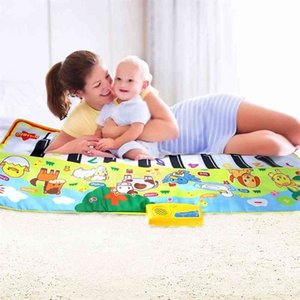 135x58CM Baby Piano Mats Music Carpets For Newborn Baby Animals Voice Touch Play Musical Carpet Mat Educational Toys 210401