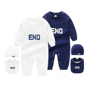 Summer Fashion Brand Style Newborn Baby Clothes 3 Pcs Set Cotton Letter Long Sleeved Toddler Baby Boy Girl Romper Clothing