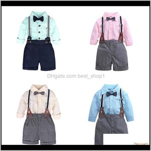 Baby, Kids & Maternity Drop Delivery 2021 Baby Boy Clothes Sets Spring Autumn Infant Boys Gentleman Suits Long Sleeve Bow Tie Shirt +Suspende