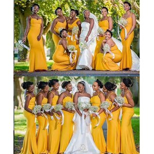 Mermaid yellow Bridesmaid Dresses African Summer Garden Countryside Wedding Party Maid of Honor Gowns Plus Size Custom Made
