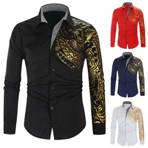2021 Designers Men S Clothing Mens Essentials Shirt National Dragon Pattern Gilded Lapel Long Sleeve Shirts Loose Top
