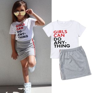 Designers Clothes Kids Clothing Sets European and American foreign trade children's girls summer western style letter T-shirt striped lace skirt suit