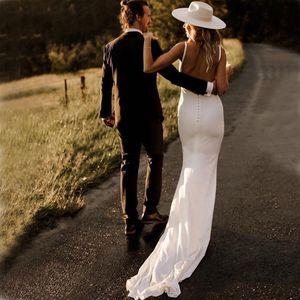 Mermaid Wedding Dresses 2021 Sexy V Neck Open Back Stretch Satin Wild Country Wedding Dress Bridal Gowns Cheap Custom