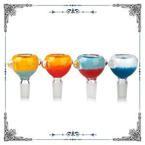 Bowls de cristal embriagador 14 mm Junto a los hombres Tazón de humo Hookahs Cuencos Pedazo Unique coloreado Accesorios de humo para vidrio Agua Bongs Plataformas de petróleo Papitas de agua
