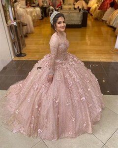 Sparkly Rose Gold Sequins Ball Gown Quinceanera Dresses Bridal Gowns Long Sleeve Sweet 16 Dress vestidos de xv años anos