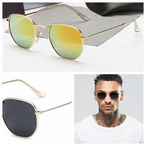 2021 Classic Round Brand ray Design UV400 Sunglasses Eyewear Metal Gold bans Frame Sun Glasses Men Women Mirror 3548 Polaroid glass Lens