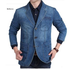 New Mens Denim Blazer Men Fashion Cotton Vintage Suit Jacket 4XL Male Blue Coat Denim Jacket men slim fat Jeans Blazers