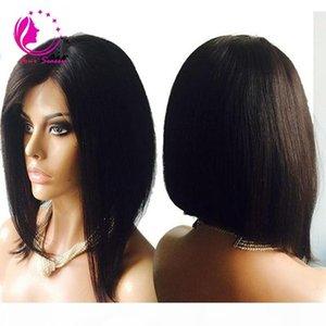 Alta Qualidade Curta Bob Lace Wigs Glueless Lace Cheio Humano Cabelo Humano Bob Perucas Para Moda Mulheres Peruano Virgem Cabelo Reta Reta Lace Bob Perucas
