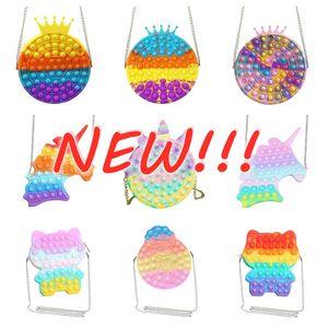 2022 Kawaii Cute Bag Fidget Toys Push Its Bubble Stress Reliever Rainbow Simpl Dimmer Antistress Children Sensory Toys Backpack
