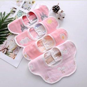 Baby Towel Bib Newborn Petal Bib Pure Cotton 6 Layer Gauze Cartoon Printing Infant Bibs Baby 360 Degree Spinning Cotton Towel DWD10662