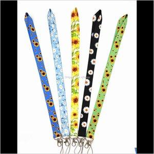 Cell Straps 10Pcs Flower Chrysanthemum Sunflower Lanyard For Keys Mobile Phone Strap Id Badge Holder Rope Charms Diy Keychain Accessor Jmg3E