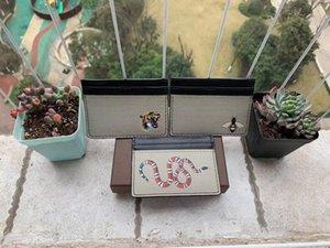 Мужчины женские держатели карты мода кофе змеиный тигр пчел классический повседневный кредитный идентификатор держатель кожи ультра тонкий кошелек пакетная сумка с коробкой