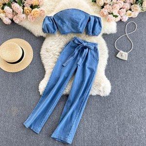 Amolapha Women Off Shoulder Strapless Short Sleeve Denim Jumper Tops+High Waist Bow Pants Suit Female Jeans Trousers 2PCS Sets Women's Two P