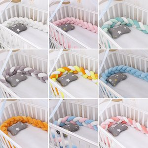 Fashionable 19-27 Baby Bed Crib Bumper 1.5M 2M 3M Baby Nest Protector Weaving Plush Twist Knot Cot Bumper Dropshipping Infantil