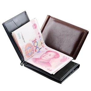 Fashion Mens Leather Money Clip Wallet With Magnet Hasp Credit Card Cash Holder Business Short Designer Purse For Male