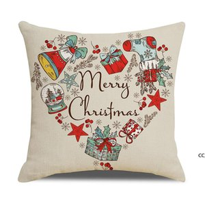 20 colors decorative pillow covers for christmas Halloween linen pillows 45*45CM custom Santa printed leaning pillowcase Cushion DHD10644