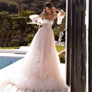 Sweetheart Glitter Tulle Appliques A Line Wedding Dress Bridal Gowns With Detachable Sleeves 2020 New Arrival Vestido De Noiva
