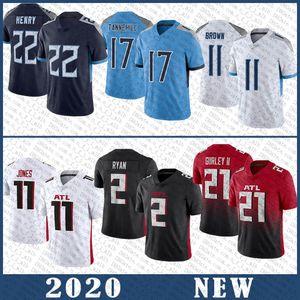 22 Derrick Henry 11 AJ Brown 17 Ryan Tannehill Jersey 21 Todd Gurley II 11 Julio Jones 2 Matt Ryan Alta Qualidade Costura TennesseeTitan Atlanta.Falcão