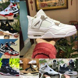 판매 2021 브리드 블랙 고양이 4 4S 농구 신발 남자 망 두려움 흰색 시멘트 앙코르 날개 화재 레드 싱글 디자이너 스니커즈 IV 순수한 돈 트레이너