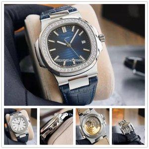 Высококачественные часы YR 5713 40 мм Nautilus Almaness Bezel Нержавеющая сталь Cal.324 Автоатрамитические мужские часы Синий белый циферблат кожаный ремешок спортивные ворота наручные часы