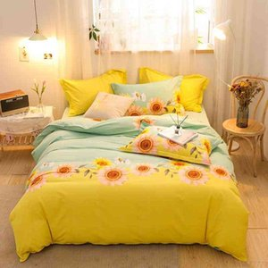 4Pcs Duvet Cover 100% Cotton Sunflowes design Ultra Soft and Easy Bedding Set Bed Sheet Pillowcase Queen King size