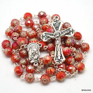 Holy Catholic Faceted Glass Beads Red Blue Yellow Green Special Rosary Necklace Classical Crucifix Center Medal Chains