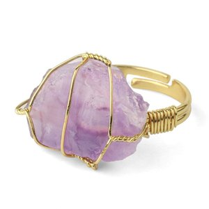 Natural Stone Crystal Rings Women Irregular Wire Wrap Healing Purple Fluorite Gold-color Resizable Finger Ring Jewelry