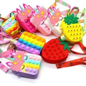 New Cute Fidget Toys Bag Unicorn Simple Dimple Messenger Push Bubble Anti-stress Children's Toy Keychain Wallet 591