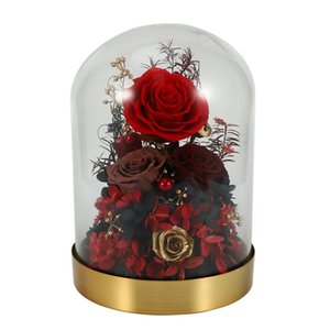 Rose In Glass,Enchanted Rose, Glass E Black Wood Base, Valentine's Party Gifts, Wedding Gift For Her Decorative Flowers & Wreaths