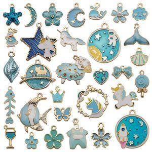 30pcs Mixed Pattern Blue Drop Oil Fish Flower Horse Enamel Charm DIY Jewelry Bracelet Necklace Pendant Gold Tone Float Finding