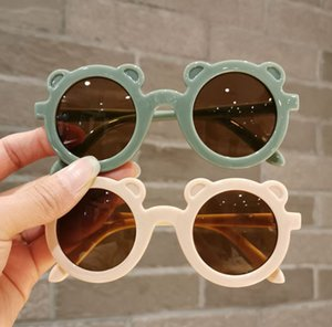 Moda Yaz Çocuklar Ayı Yuvarlak Çerçeve Güneş Gözlüğü Çocuk UV Koruma Gözlük Erkek Kız Serin Plaj Gözlük A6335