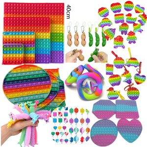BIG SIZE Fidget Toy Keychain Rainbow Finger Toys Squeeze Grip Key Chain GIANT Push Bubble Game Noodle Rope Sensory Anxiety Stress Reliever