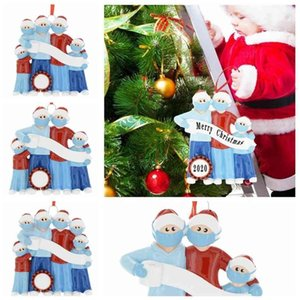 Christmas Decorations Ornament Quarantine Greeting With Mask Family Christmas DIY Xmas Tree Santa Hanging Pendants Party Decoration