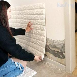 3D Wall Stickers Bedroom Decor 70*77cm DIY Self Adhesive Foam Brick Room home decoration Wallpaper Living For Kids