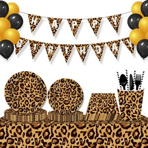 Disposable Dinnerware Leopard Jungle Theme Party Tableware Decorations Sets Plates Napkins Cups Kids Happy Birthday Favors