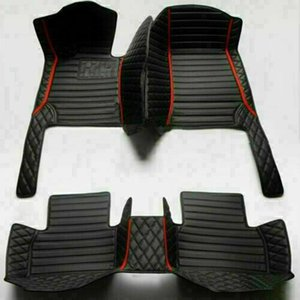 Car Floor Mats for Ford Mustang Luxury Leather Full Coverage Black red