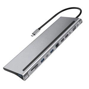 12-in-1 Type-C HUB 4K station dual HD RJ45 Gigabit Lan PD Laptop Docking Stations High Quality