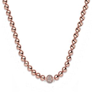 Necklaces 925 Sterling Rose Silver Beads & Pave Crystal Sliding Necklace for Women Wedding Gift Diy Pandora Jewelry Y1