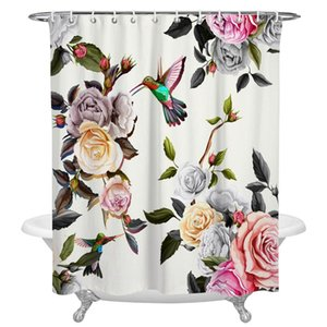 Watercolour Rose Peony Bird Shower Curtain Home Decoration Bathroom Item Waterproof Curtains