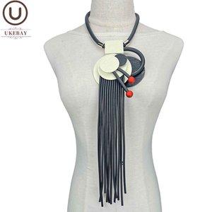 UK Designer Handmade Luxury Necklace Women Vintage Jewelry Rubber Chain Wood jewellery Woman Statement Pendant Necklaces