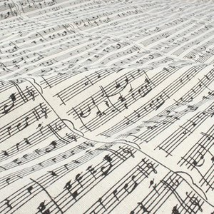 Music Note Printed Linen Cotton Fabric Tablecover Home Decor Material Craft 150cm wide sold by yard h7gK#