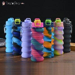 Camuflagem Frasco de Água De Silicone Dobra Telescópica Tumbler Carabiner Esportes Bebidas Copos Portáteis Caminhadas Caminhadas Equipamento 500ml FY4515 BA15