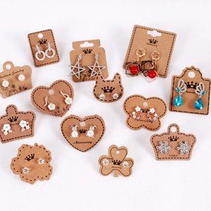 100pcs lot Kraft Paper Earring Cards in Jewelry Packaging & Display Square Cat Heart Crown Shape Jewellery Gift Shop Tags