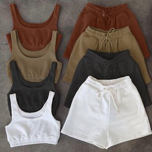 Casual Solid Tracksuits Sportswear Two Piece Sets Women 2021 Crop Top And Drawstring Shorts Matching Set Summer Athleisure Outfits