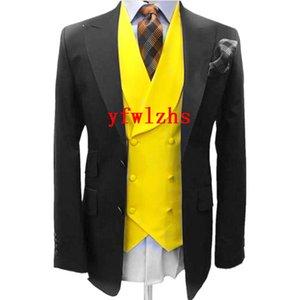 Custom-made Two Buttons Groomsmen Peak Lapel Groom Tuxedos Men Suits Wedding Prom Dinner Man Blazer(Jacket+Pants+Tie+Vest) W838